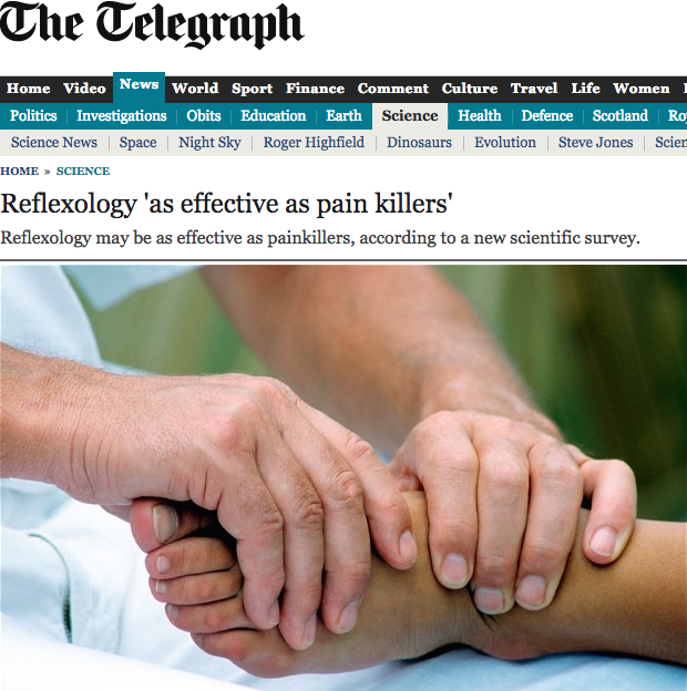 Learn to be well Blog - Reflexology may be as effective as painkillers. Reference: http://www.telegraph.co.uk/science/9981099/Reflexology-as-effective-as-pain-killers.html